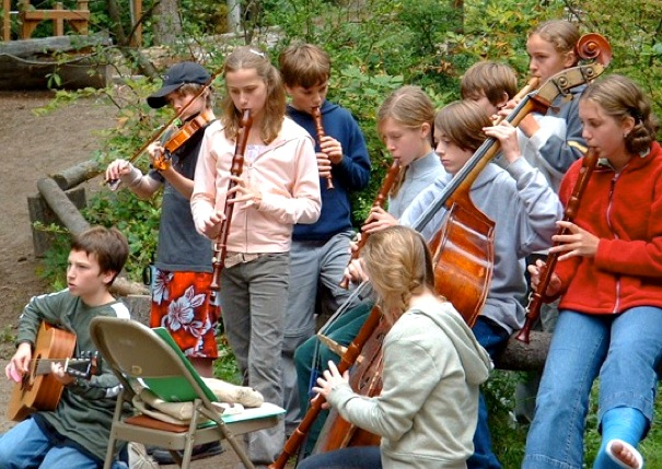 Students from the Whidbey Island Waldorf School (Washington) played in a mixed ensemble at an outdoor Michaelmas celebration.
